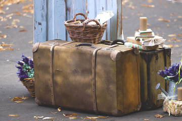 Old-fashioned suitcases