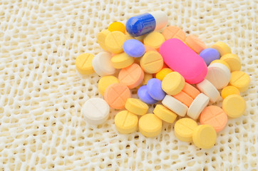 group of colorful medicine pills