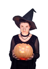 Halloween Witch with Glowing Pumpkin isolated on white