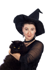 Halloween Witch with Black Cat isolated on white