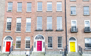 Colorful Georgian doors in Dublin (yellow,pink,red)