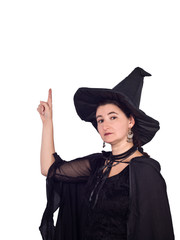 Halloween Witch points up isolated on white