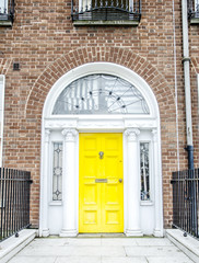Colorful Georgian doors in Dublin (yellow)