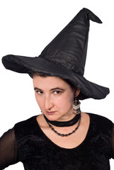 Portrait of Halloween Witch isolated on white