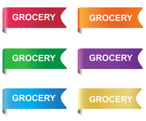 Grocery, tag, label, badge, sign, horizontal