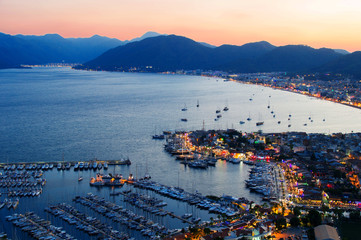 View of Marmaris harbor on Turkish Riviera by night