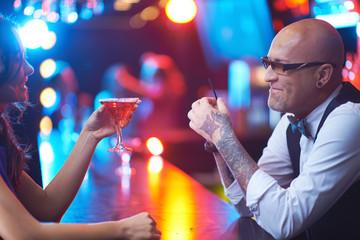 Girl and barman