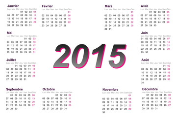 European french 2015 year calendar