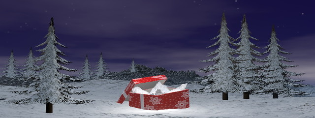 Christmas gift at the mountain - 3D render