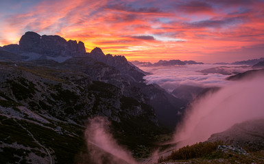 Beautiful sunrise on the Dolomites