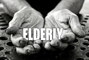 Elderly concept in the old female hands
