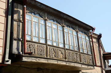 Traditional transcaucasian georgian architecture in Tbilisi