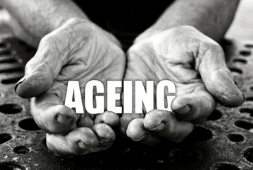 Ageing concept in the old female hands