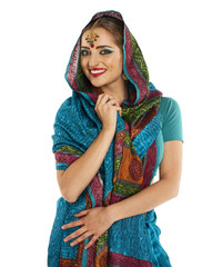 Young pretty woman in indian blue dress