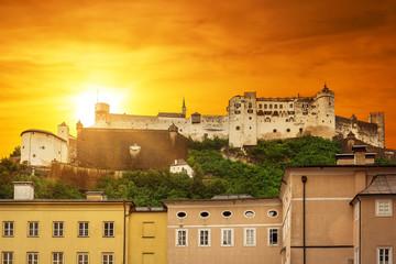 Hohensalzburg Castle in Salzburg at sunset, Austria
