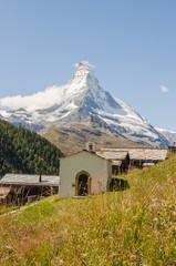 Zermatt, Bergdorf, Weiler, Findeln, Kapelle, Schweizer Alpen