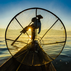 Fishermen in Inle Lake at sunrise, Shan State, Myanmar
