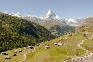 Zermatt, Findeln, Höhenweg, Bergdorf, Alpen, Sommer, Schweiz