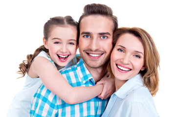 family with little girl and pretty white smiles