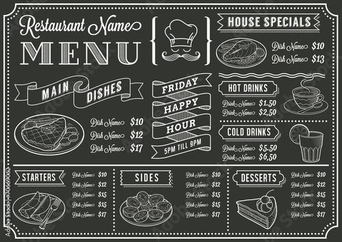 Chalkboard Restaurant Menu Template - 70669062