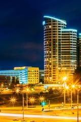 Night Scene Building In Minsk, Belarus
