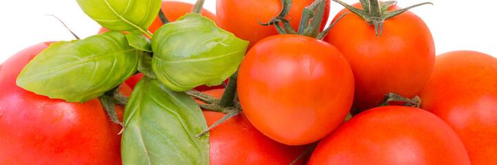 tomaten mit basilikum als banner