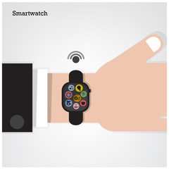 Smartwatch on  businessman hand  and internets connection sign.