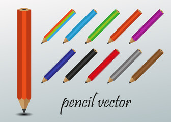 Pencil vector, multicolor