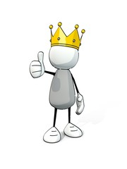little sketchy man with king crown -  thumb up