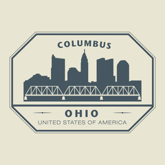 Stamp with name of Ohio, Columbus, vector illustration