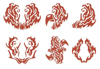 Flaming decorative symbols: rooster and others