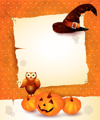 Halloween background with blank paper