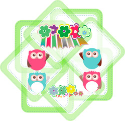 cartoon owls, flowers, holiday invitation card