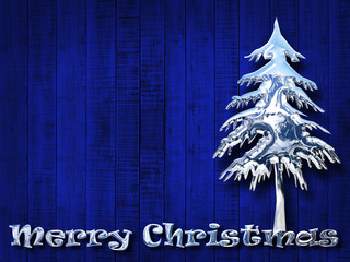 Christmas, pine, silver text  and blue wood background