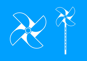 White pinwheel icon on blue background