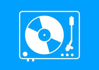 White gramophone icon on blue background