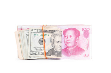 Dollar USA and RMB Chinese on white background.