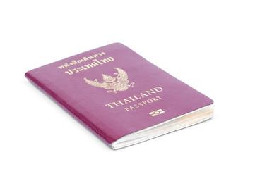 Thailand passport on white background.