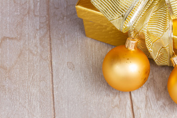 golden  gift box with christmas decorations