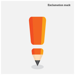 Pencil exclamation mark on background.