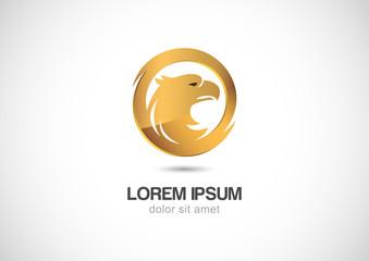 Bird in circle golden frame abstract vector logo design template
