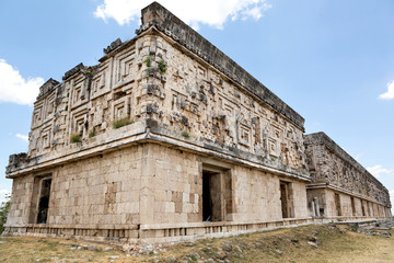 Mayan architectural details on the governors palace in Uxmal