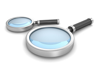 Two Magnifying Glasses On White Background