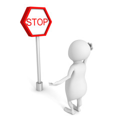 white 3d person  with stop road sign