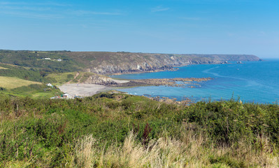 The Lizard peninsula coast Cornwall to Kennack Sands panorama