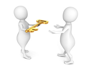 white 3d man give golden key other person