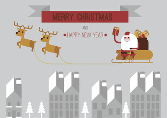 Merry Christmas santa and raindeers gray background