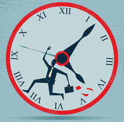 Abstract Businessman Races against the Clock