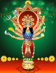 vector illustration goddess durga