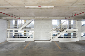car park with stairs